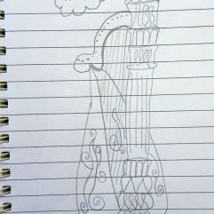 Leonie zeichnete kurz vor Beginn des Konzerts die Harfe. Perspektivisch!