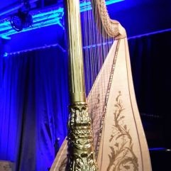Ein echter Blickfang: Die goldfarbene Harfe